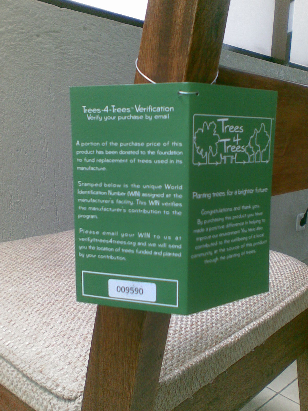 Product Validated with Trees4Trees WIN