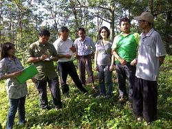 Mr. Tesis, Auditor of SCS (green shirt) verifying land belonged to Mr. Purnomo, member of Sumber Lestari farmer group of Gunung Wungkal Forest Management Unit (wearing cap).